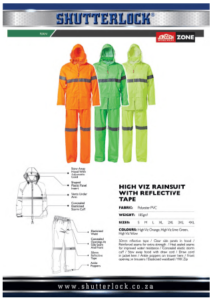 Rain Wear High Viz Rainsuit with Reflective Tape