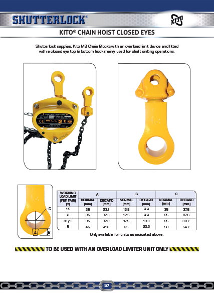 Kito Closed Eyes Chain Hoists Page