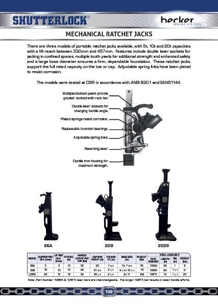 Mechanical Ratchet Jacks Page