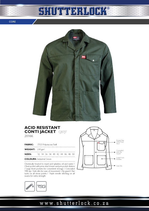 Acid Resistant Conti Jacket Page