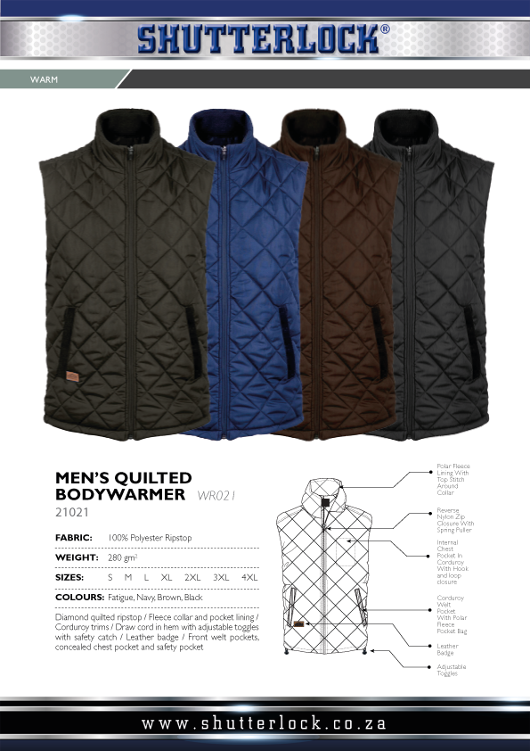 Men's Quilted Bodywarmers Page