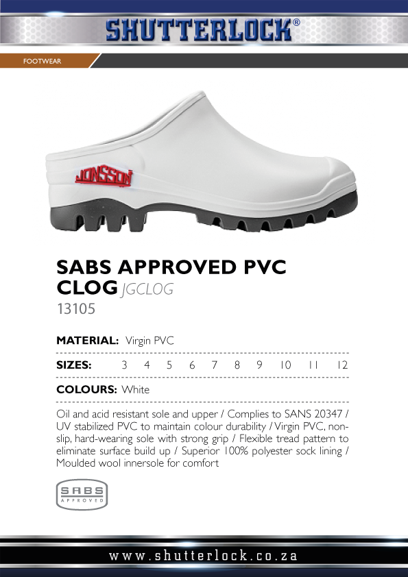 SABS Approved PVC Clog Page