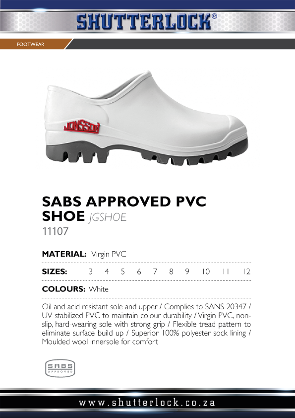 SABS Approved PVC Shoe Page