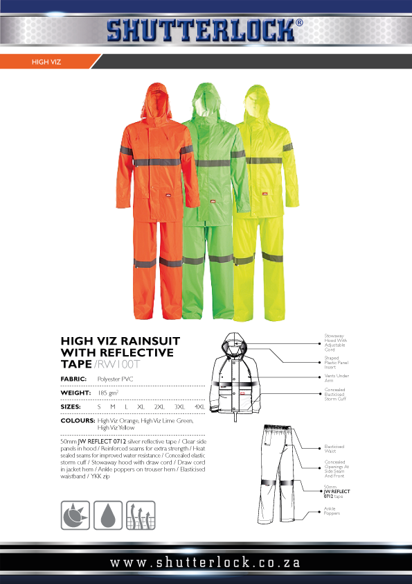 High Visibility RAINSUIT WITH REFLECTIVE TAPE