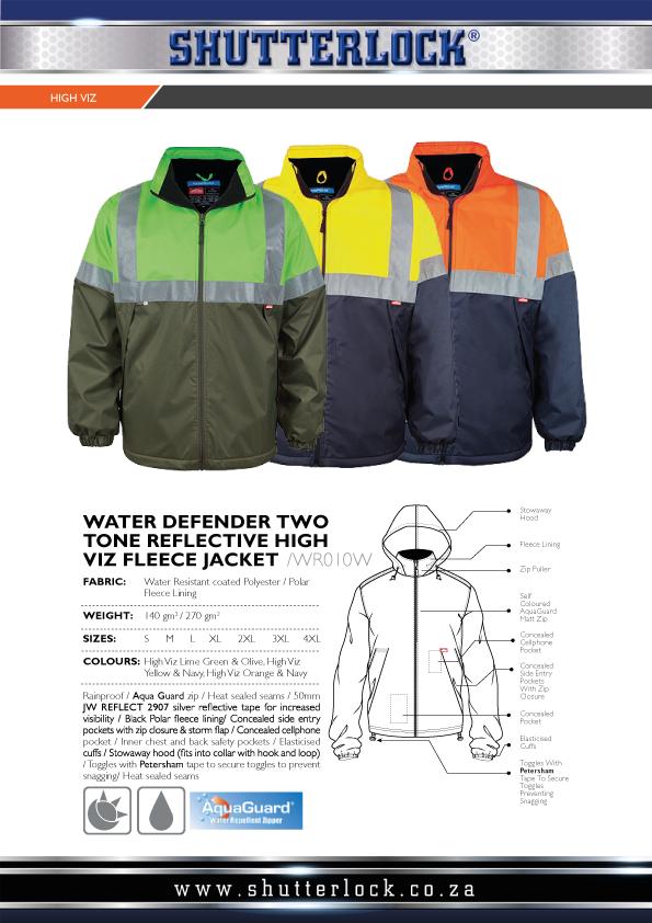 Water Defender Two Tone Reflective High Viz Fleece Jacket Page