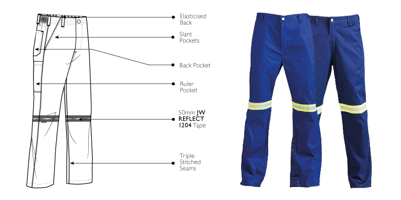 100 Cotton Reflective Work Trousers
