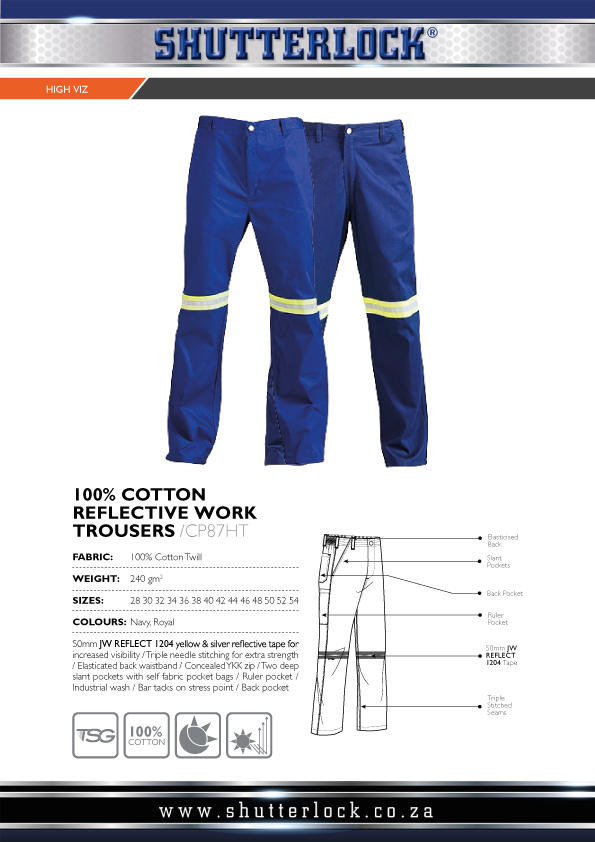 Cotton Reflective Work Trousers