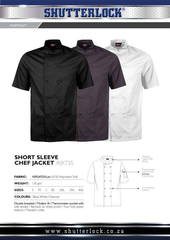 Men's Short Sleeve Chef Jacket Page