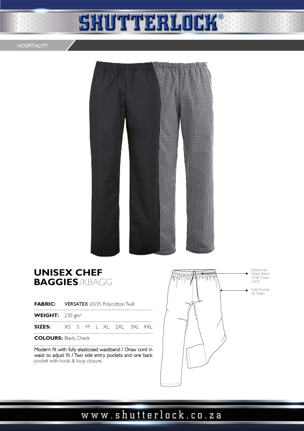 Unisex Chef Baggies Page
