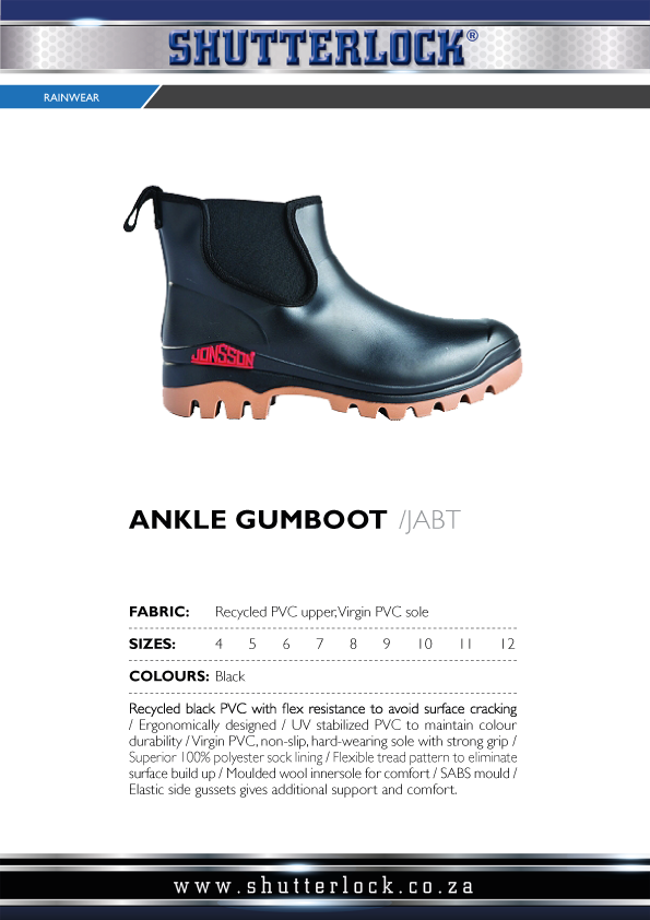 Rain Wear Ankle Gumboot