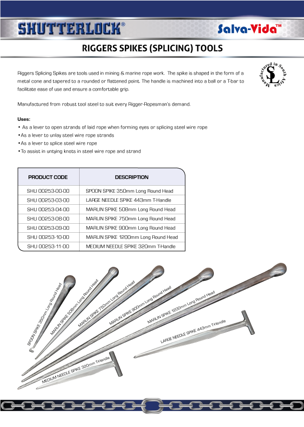 Riggers Spikes (Splicing) Tools Page
